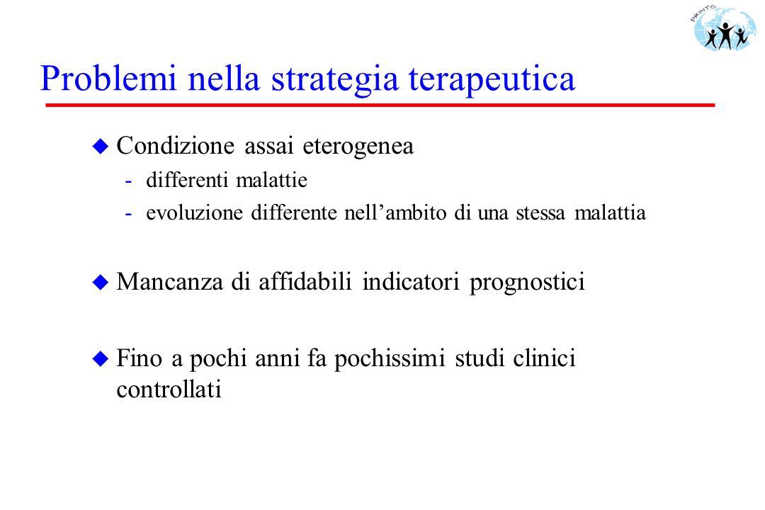 Problemi nella strategia terapeutica u Condizione assai eterogenea -differenti malattie -evoluzione differente nellambito di una stessa malattia u Man