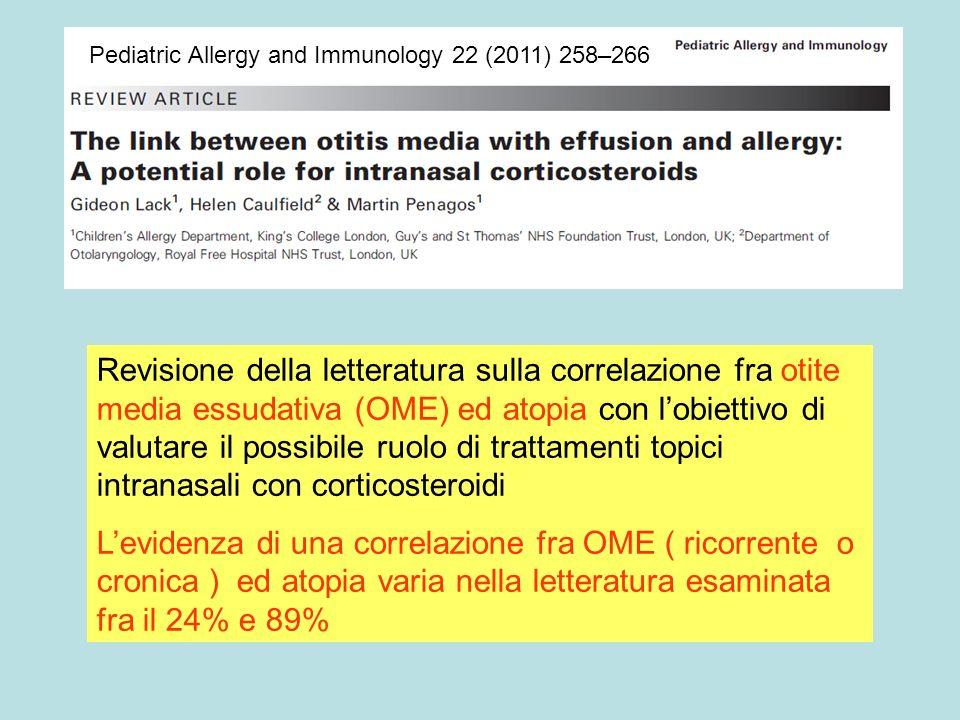 Pediatric Allergy and Immunology 22 (2011) 258–266 Revisione della letteratura sulla correlazione fra otite media essudativa (OME) ed atopia con lobie