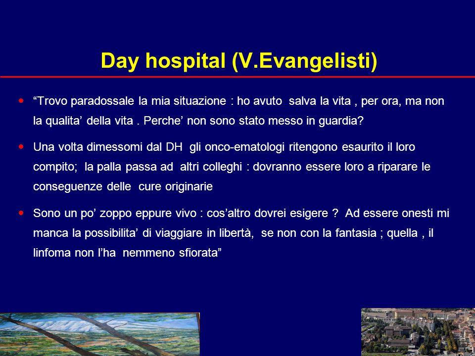 21 Day hospital (V.Evangelisti) Trovo paradossale la mia situazione : ho avuto salva la vita, per ora, ma non la qualita della vita.