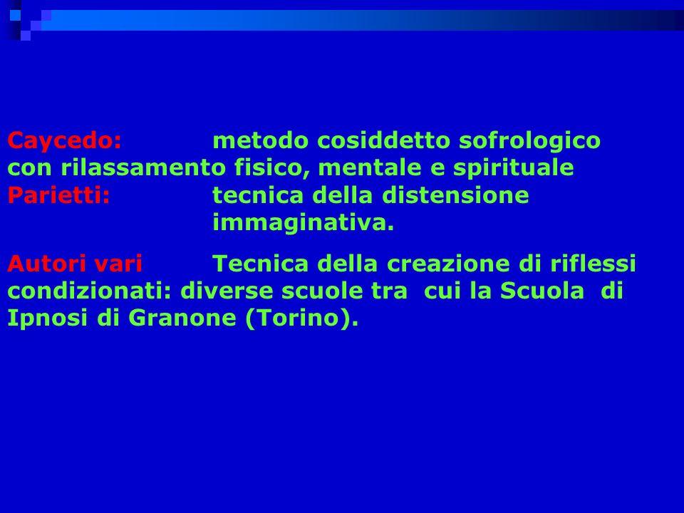Caycedo: metodo cosiddetto sofrologico con rilassamento fisico, mentale e spirituale Parietti: tecnica della distensione immaginativa.
