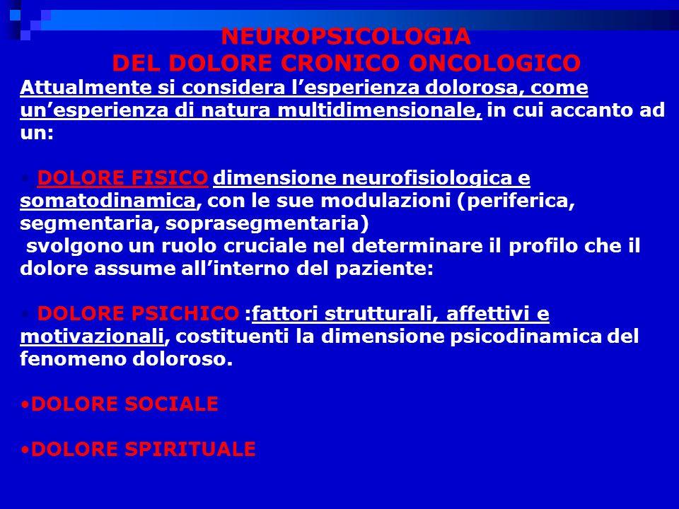 NEUROPSICOLOGIA DEL DOLORE CRONICO ONCOLOGICO Attualmente si considera lesperienza dolorosa, come unesperienza di natura multidimensionale, in cui accanto ad un: DOLORE FISICO dimensione neurofisiologica e somatodinamica, con le sue modulazioni (periferica, segmentaria, soprasegmentaria) svolgono un ruolo cruciale nel determinare il profilo che il dolore assume allinterno del paziente: DOLORE PSICHICO :fattori strutturali, affettivi e motivazionali, costituenti la dimensione psicodinamica del fenomeno doloroso.