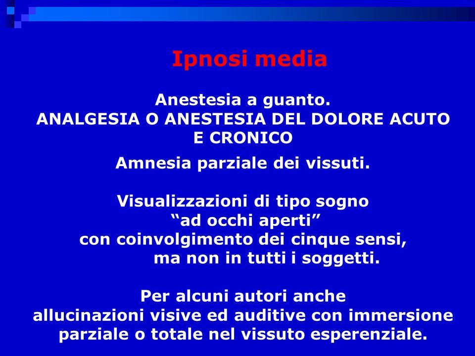 Ipnosi media Anestesia a guanto.