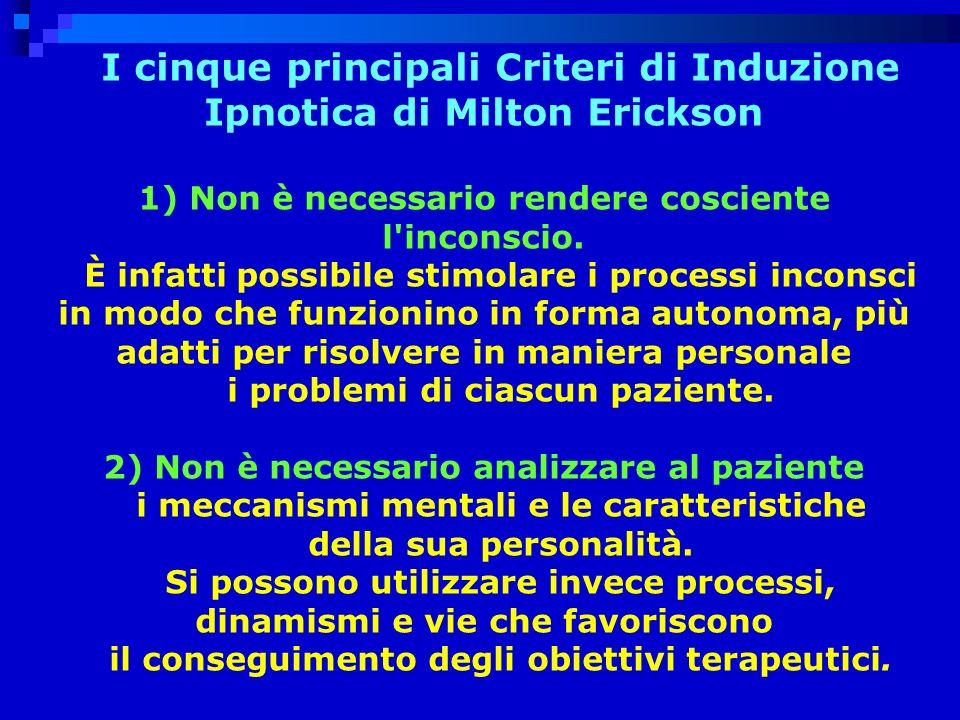I cinque principali Criteri di Induzione Ipnotica di Milton Erickson 1) Non è necessario rendere cosciente l inconscio.