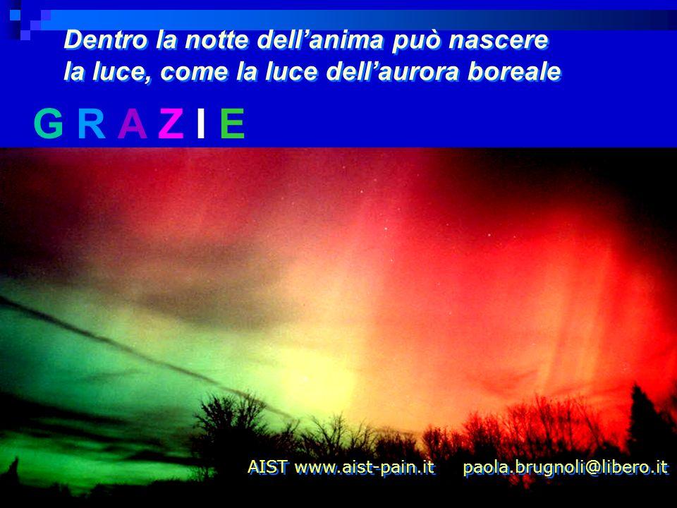 G R A Z I E Dentro la notte dellanima può nascere la luce, come la luce dellaurora boreale Dentro la notte dellanima può nascere la luce, come la luce dellaurora boreale AIST www.aist-pain.it paola.brugnoli@libero.it