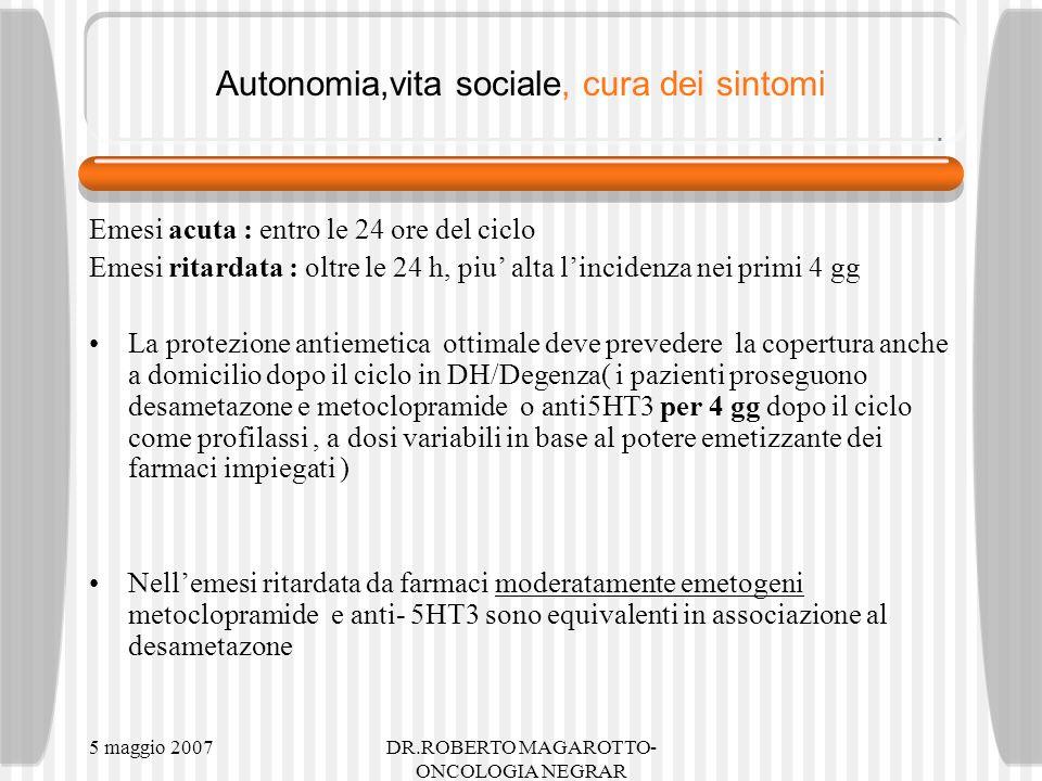5 maggio 2007DR.ROBERTO MAGAROTTO- ONCOLOGIA NEGRAR Autonomia,vita sociale, cura dei sintomi Emesi acuta : entro le 24 ore del ciclo Emesi ritardata : oltre le 24 h, piu alta lincidenza nei primi 4 gg La protezione antiemetica ottimale deve prevedere la copertura anche a domicilio dopo il ciclo in DH/Degenza( i pazienti proseguono desametazone e metoclopramide o anti5HT3 per 4 gg dopo il ciclo come profilassi, a dosi variabili in base al potere emetizzante dei farmaci impiegati ) Nellemesi ritardata da farmaci moderatamente emetogeni metoclopramide e anti- 5HT3 sono equivalenti in associazione al desametazone