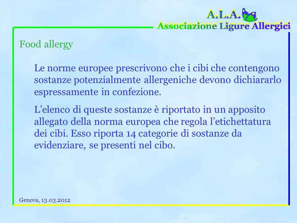 Le allergie alimentari (Food allergy) Se poi viene diagnosticata unallergia alimentare, purtroppo, per il momento, lunico rimedio disponibile è quello