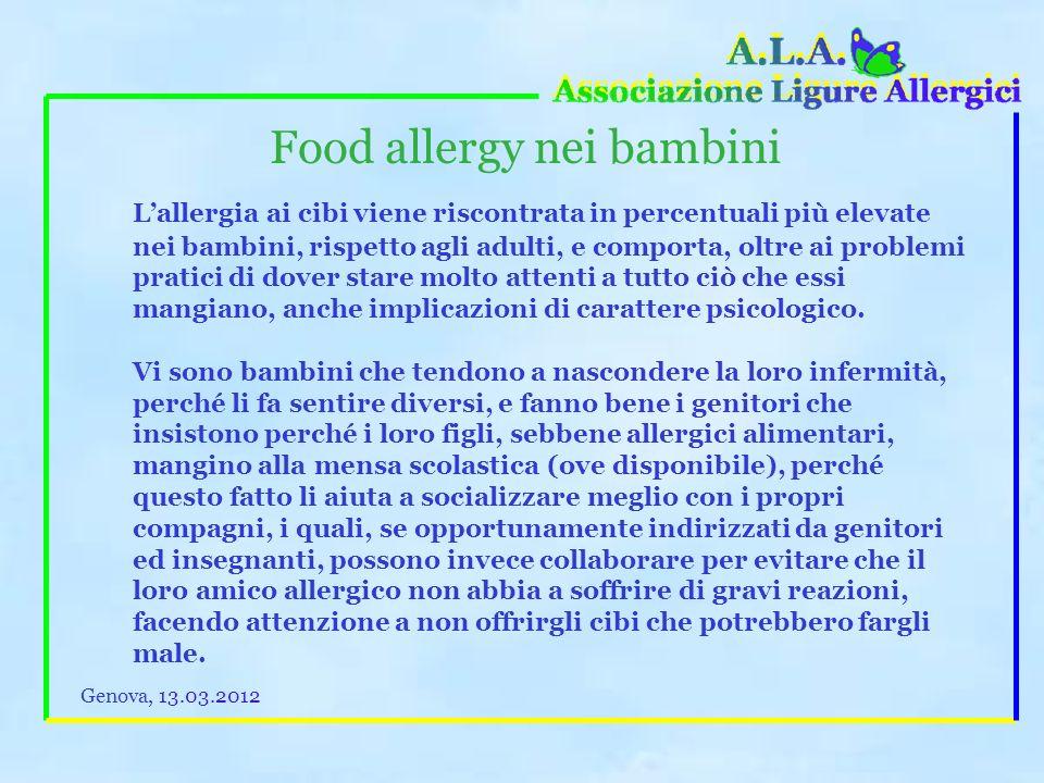 Food allergy La revisione del regolamento europeo sulletichettatura dei cibi ha accolto (purtroppo non completamente) anche alcune richieste presentat