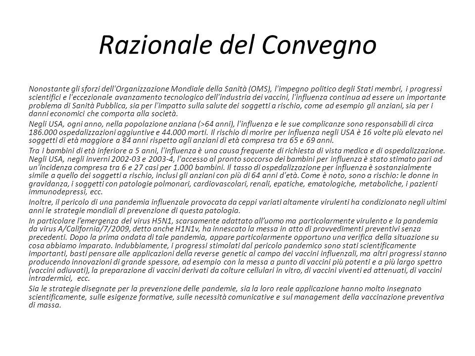 Razionale del Convegno Nonostante gli sforzi dell'Organizzazione Mondiale della Sanità (OMS), l'impegno politico degli Stati membri, i progressi scien