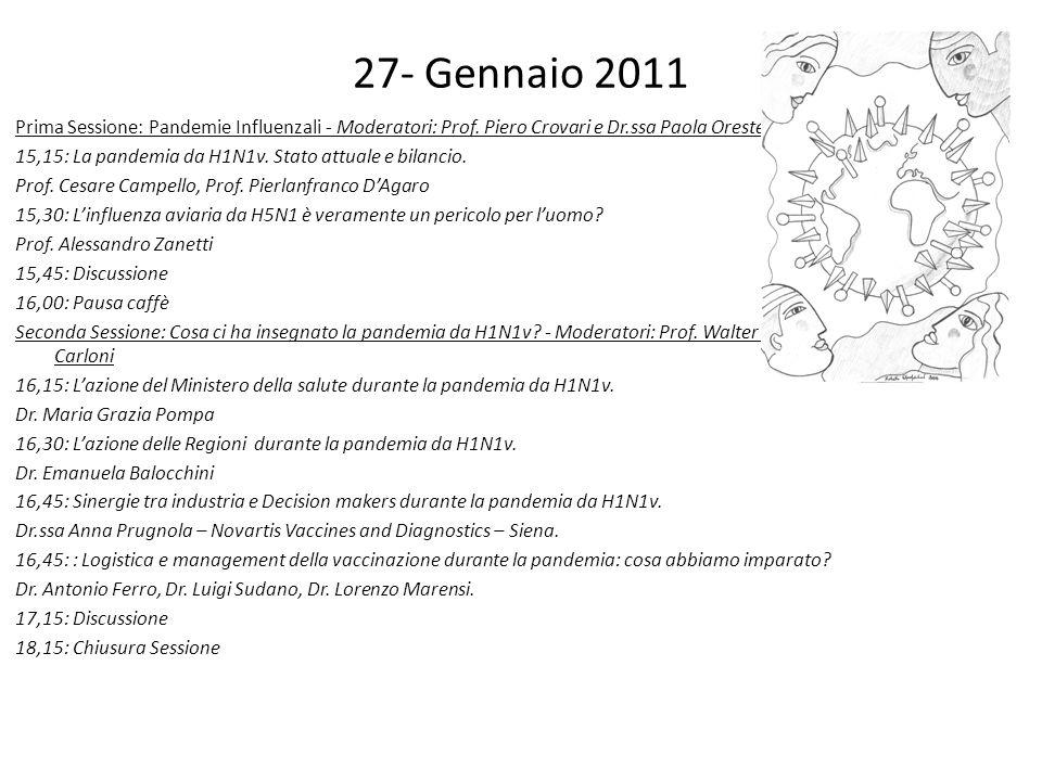 27- Gennaio 2011 Prima Sessione: Pandemie Influenzali - Moderatori: Prof. Piero Crovari e Dr.ssa Paola Oreste 15,15: La pandemia da H1N1v. Stato attua