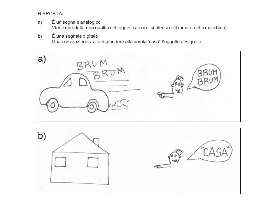 VERIFICA Quale dei due codici è digitale e quale analogico? a) b)