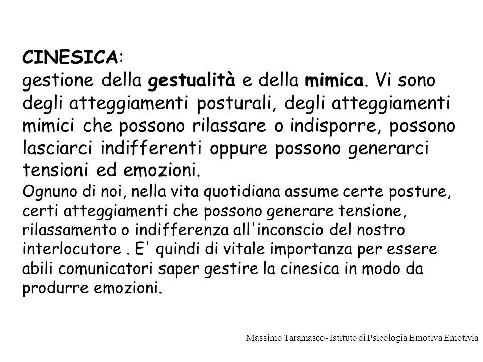 PROSSEMICA: gestione dello spazio come forma di comunicazione e di creazione di tensione. Massimo Taramasco- Istituto di Psicologia Emotiva Emotivia