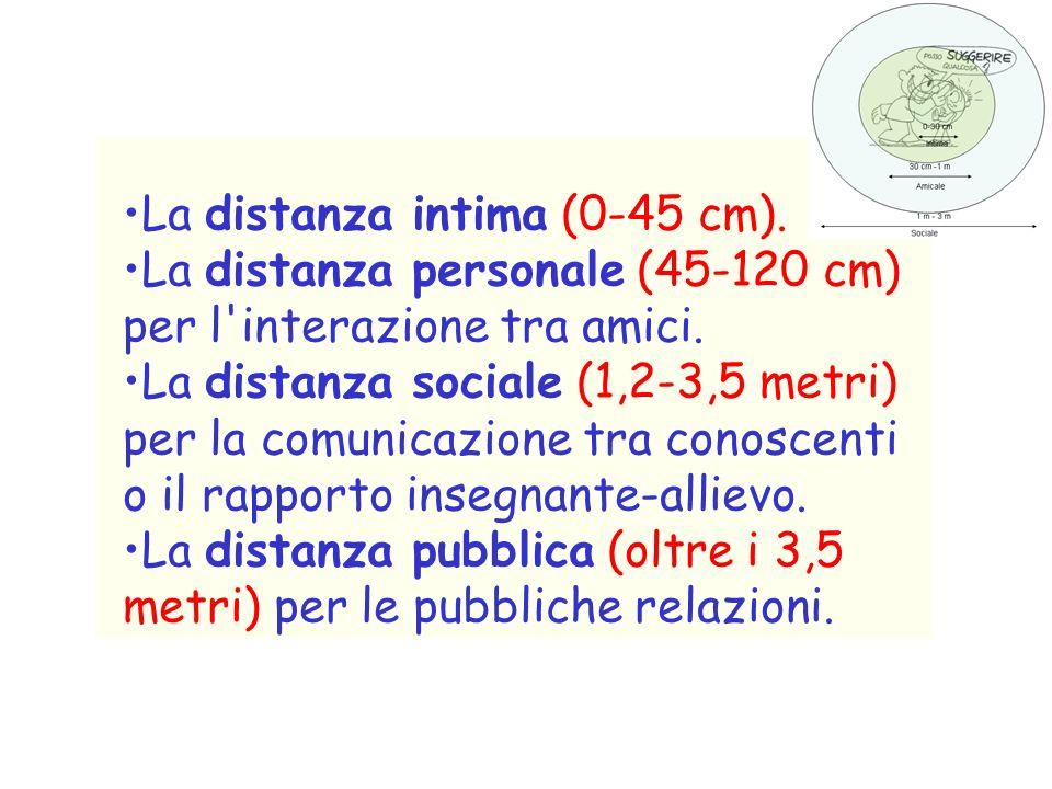 Prossemica Lo spazio può essere suddiviso in 4 zone principali: –La zona intima –La zona personale –La zona sociale –La zona pubblica