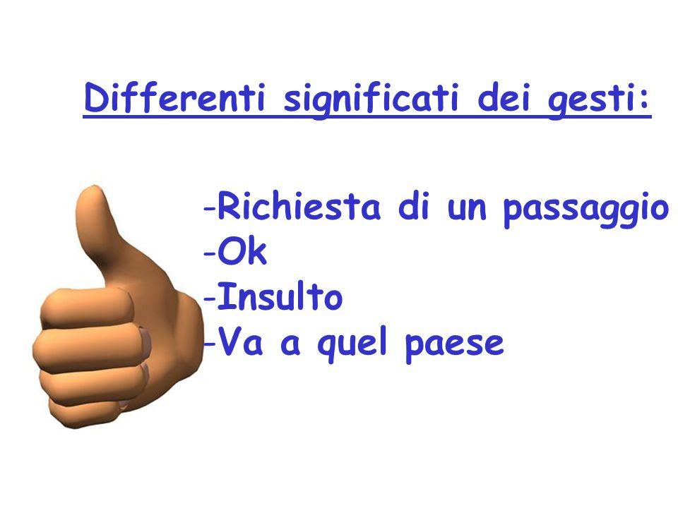 Differenti significati dei gesti: Ok per un occidentale Soldi per un giapponese Zero per un francese Insulto per turchi e brasiliani