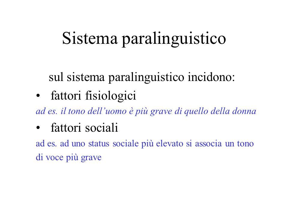 Sistema paralinguistico Sistema vocale non verbale: indica linsieme dei suoni emessi durante una conversazione a prescindere dal loro significato (ton