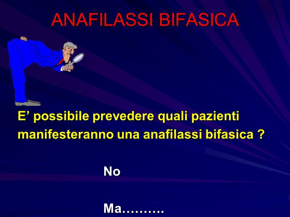 ANAFILASSI BIFASICA E possibile prevedere quali pazienti manifesteranno una anafilassi bifasica ? No No Ma………. Ma……….
