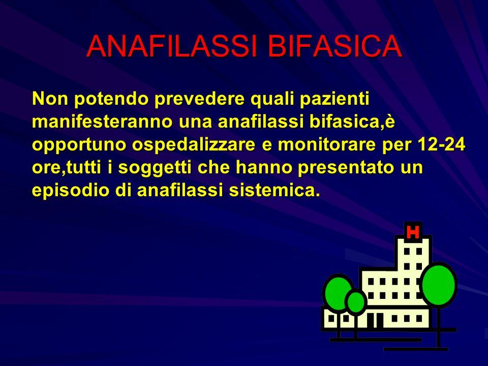 ANAFILASSI BIFASICA Non potendo prevedere quali pazienti manifesteranno una anafilassi bifasica,è opportuno ospedalizzare e monitorare per 12-24 ore,t