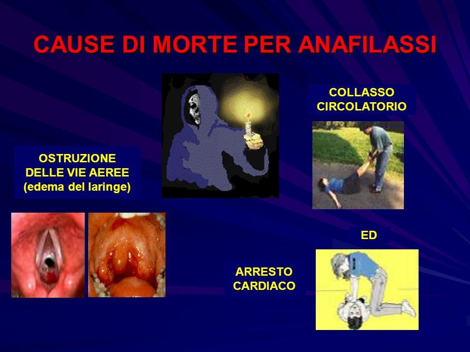 CAUSE DI MORTE PER ANAFILASSI COLLASSO CIRCOLATORIO ED ARRESTO CARDIACO OSTRUZIONE DELLE VIE AEREE (edema del laringe)