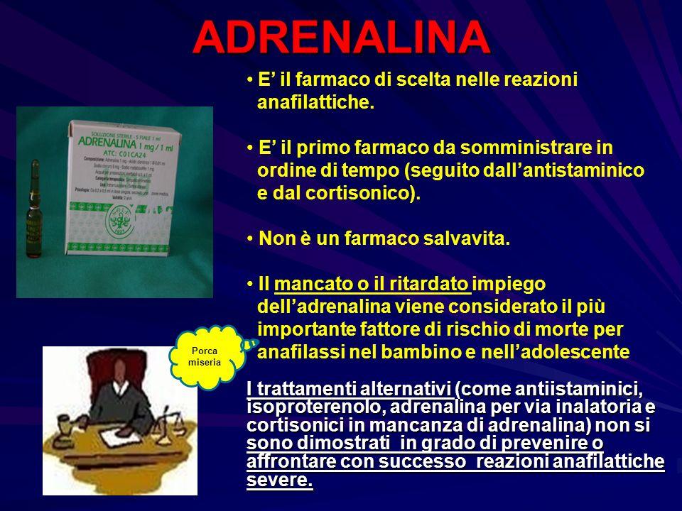 ADRENALINA E il farmaco di scelta nelle reazioni anafilattiche. E il primo farmaco da somministrare in ordine di tempo (seguito dallantistaminico e da