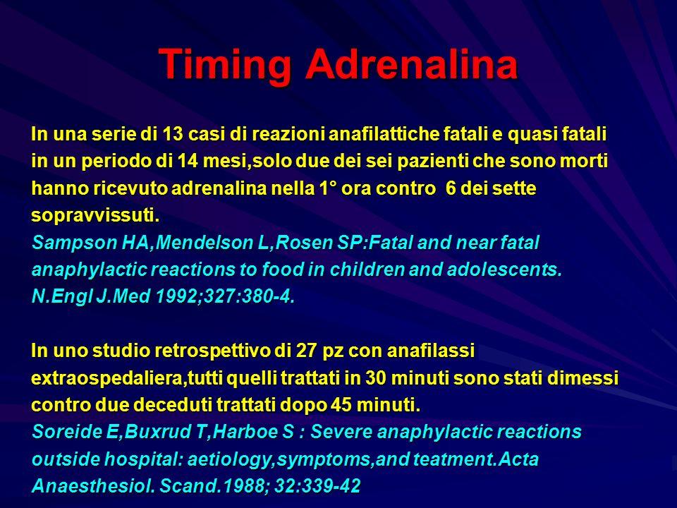 Timing Adrenalina In una serie di 13 casi di reazioni anafilattiche fatali e quasi fatali in un periodo di 14 mesi,solo due dei sei pazienti che sono