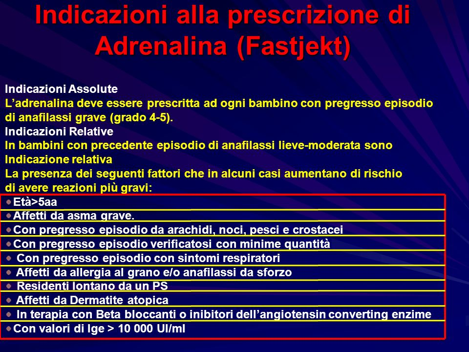 Indicazioni alla prescrizione di Adrenalina (Fastjekt) Indicazioni Assolute Ladrenalina deve essere prescritta ad ogni bambino con pregresso episodio