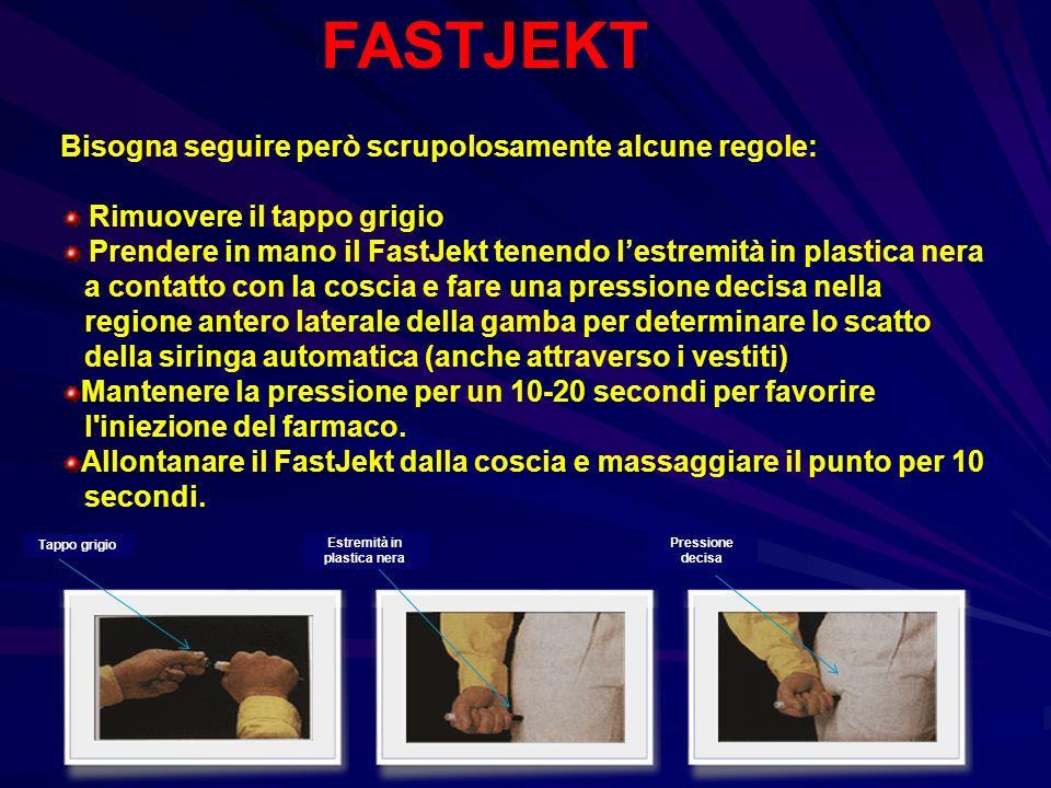 FASTJEKT Bisogna seguire però scrupolosamente alcune regole: Rimuovere il tappo grigio Prendere in mano il FastJekt tenendo lestremità in plastica ner