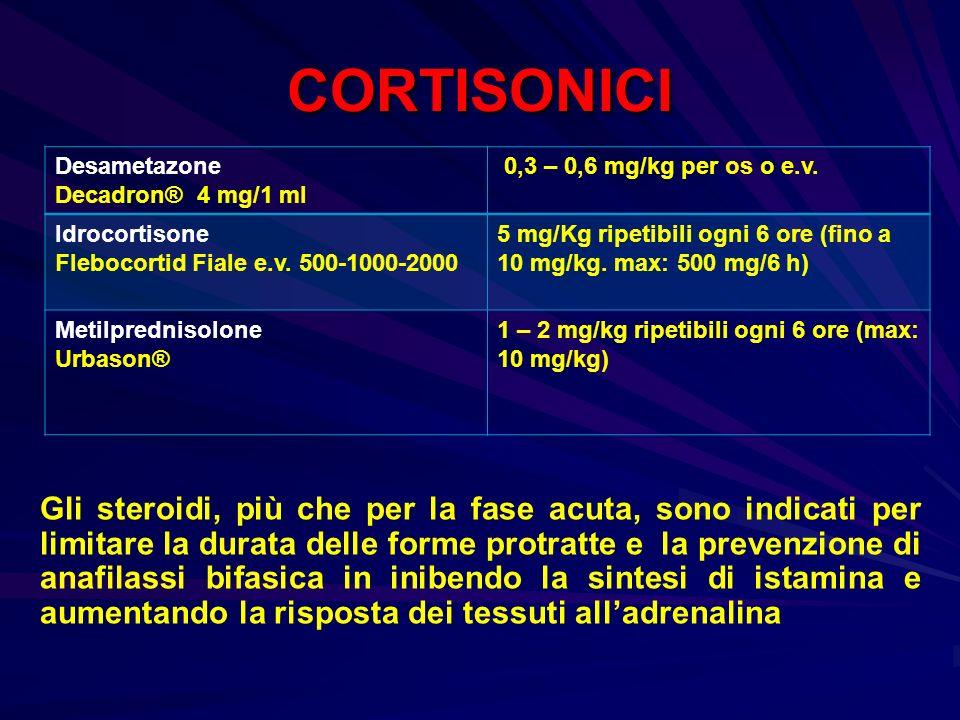 CORTISONICI Desametazone Decadron® 4 mg/1 ml 0,3 – 0,6 mg/kg per os o e.v. Idrocortisone Flebocortid Fiale e.v. 500-1000-2000 5 mg/Kg ripetibili ogni