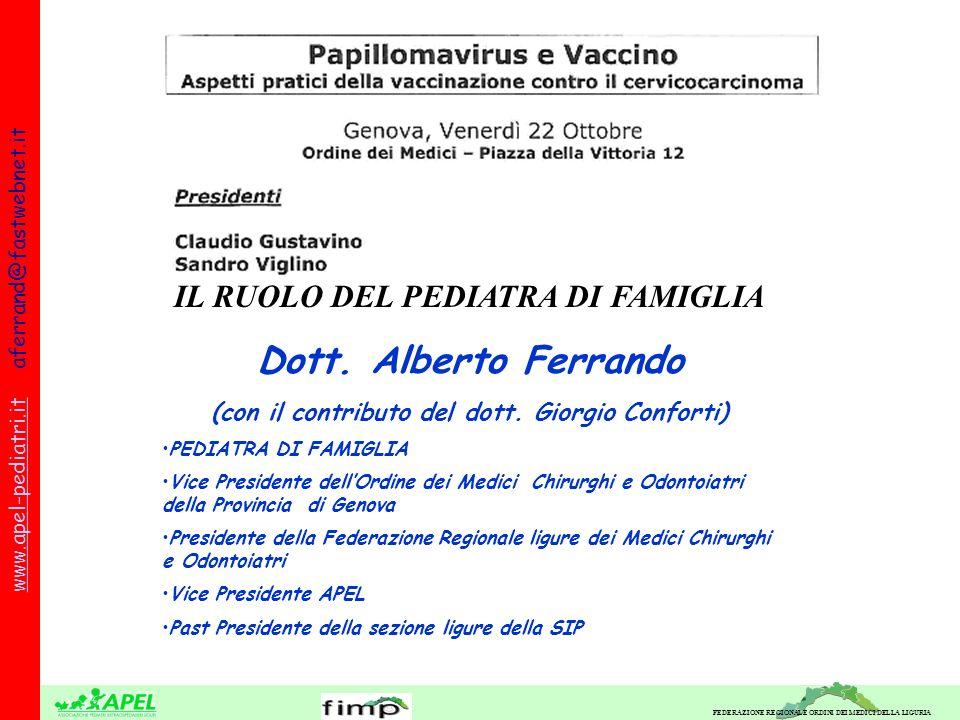FEDERAZIONE REGIONALE ORDINI DEI MEDICI DELLA LIGURIA www.apel-pediatri.itwww.apel-pediatri.it aferrand@fastwebnet.it IL RUOLO DEL PEDIATRA DI FAMIGLIA Dott.