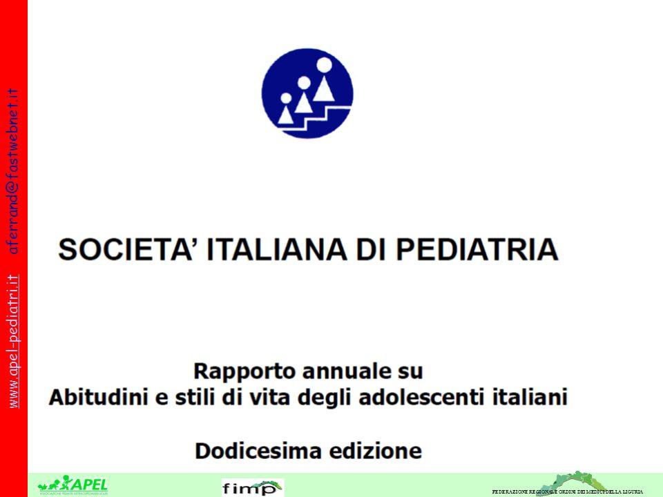 FEDERAZIONE REGIONALE ORDINI DEI MEDICI DELLA LIGURIA www.apel-pediatri.itwww.apel-pediatri.it aferrand@fastwebnet.it