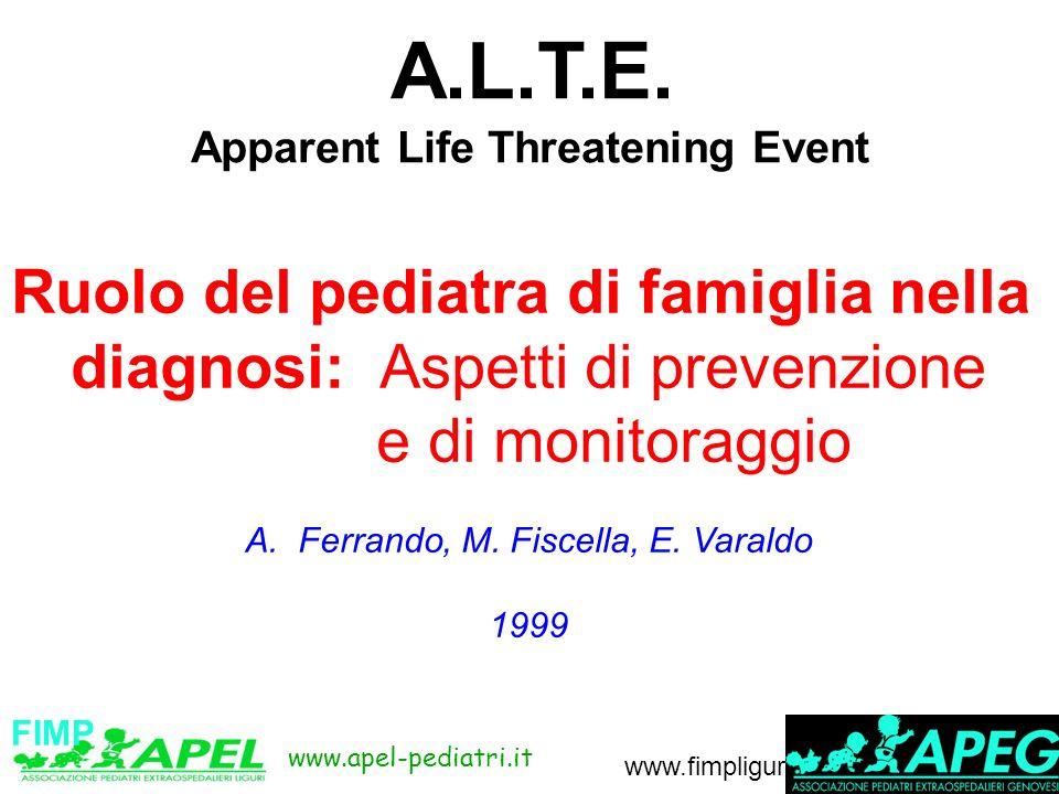 www.apel-pediatri.it www.fimpliguria.it A.L.T.E. Apparent Life Threatening Event Ruolo del pediatra di famiglia nella diagnosi: Aspetti di prevenzione