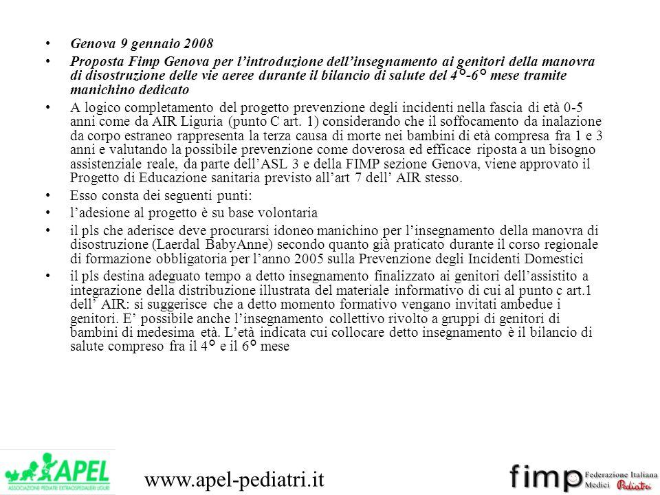www.apel-pediatri.it Genova 9 gennaio 2008 Proposta Fimp Genova per lintroduzione dellinsegnamento ai genitori della manovra di disostruzione delle vi