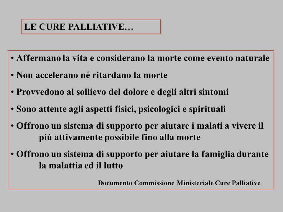 LE CURE PALLIATIVE… Affermano la vita e considerano la morte come evento naturale Non accelerano né ritardano la morte Provvedono al sollievo del dolo