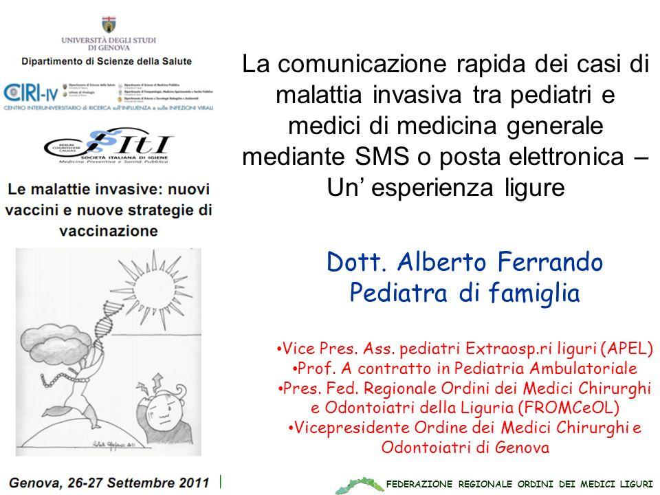 FEDERAZIONE REGIONALE ORDINI DEI MEDICI LIGURI www.apel-pediatri.org Dott. Alberto Ferrando Pediatra di famiglia Vice Pres. Ass. pediatri Extraosp.ri