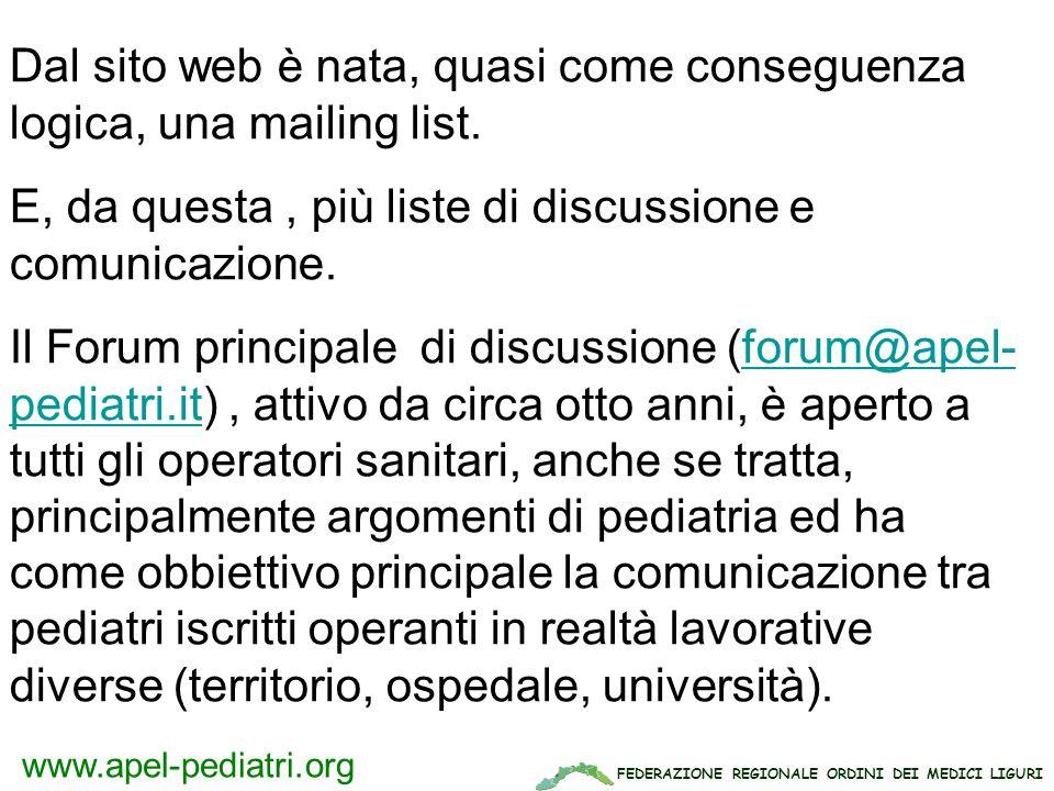 FEDERAZIONE REGIONALE ORDINI DEI MEDICI LIGURI www.apel-pediatri.org Dal sito web è nata, quasi come conseguenza logica, una mailing list. E, da quest
