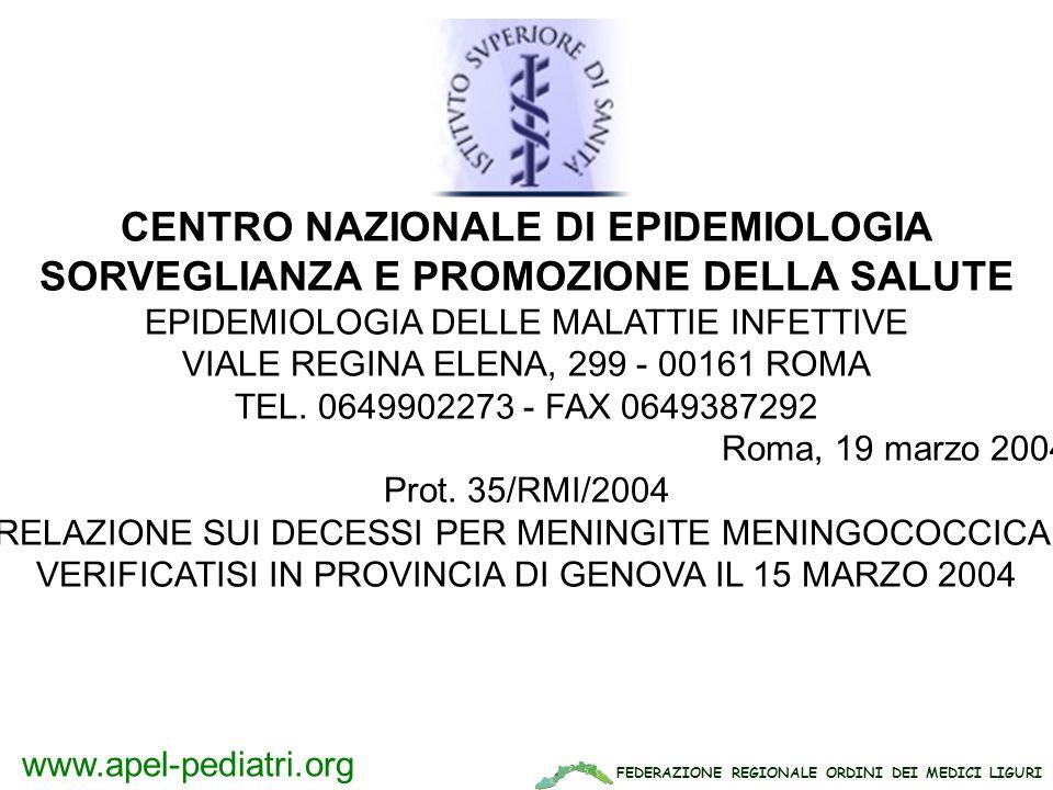FEDERAZIONE REGIONALE ORDINI DEI MEDICI LIGURI www.apel-pediatri.org CENTRO NAZIONALE DI EPIDEMIOLOGIA SORVEGLIANZA E PROMOZIONE DELLA SALUTE EPIDEMIO