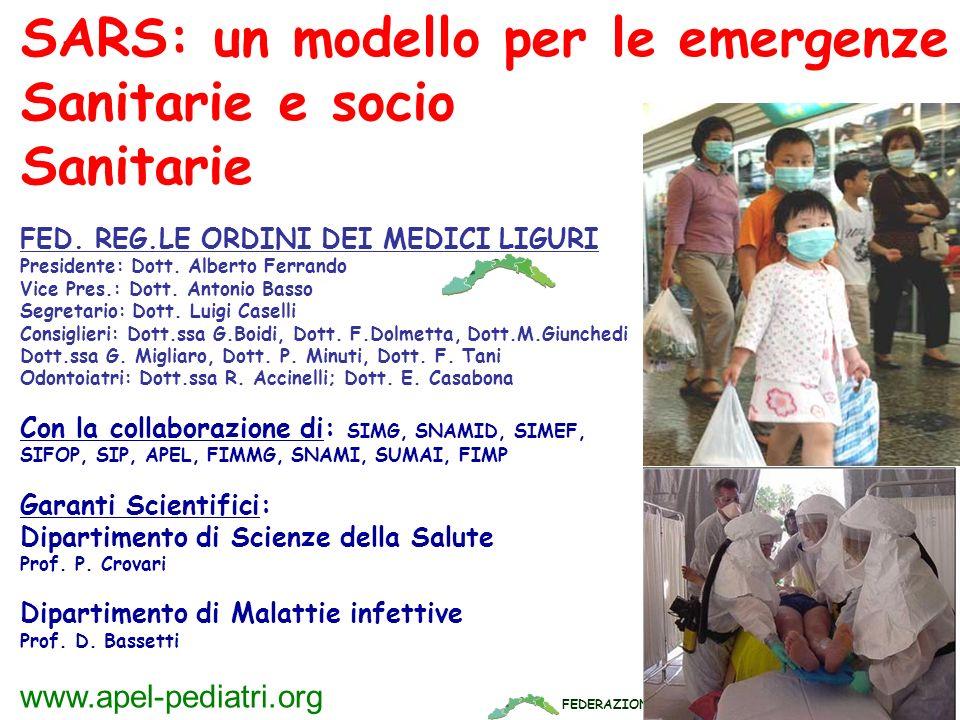 FEDERAZIONE REGIONALE ORDINI DEI MEDICI LIGURI www.apel-pediatri.org SARS: un modello per le emergenze Sanitarie e socio Sanitarie FED. REG.LE ORDINI