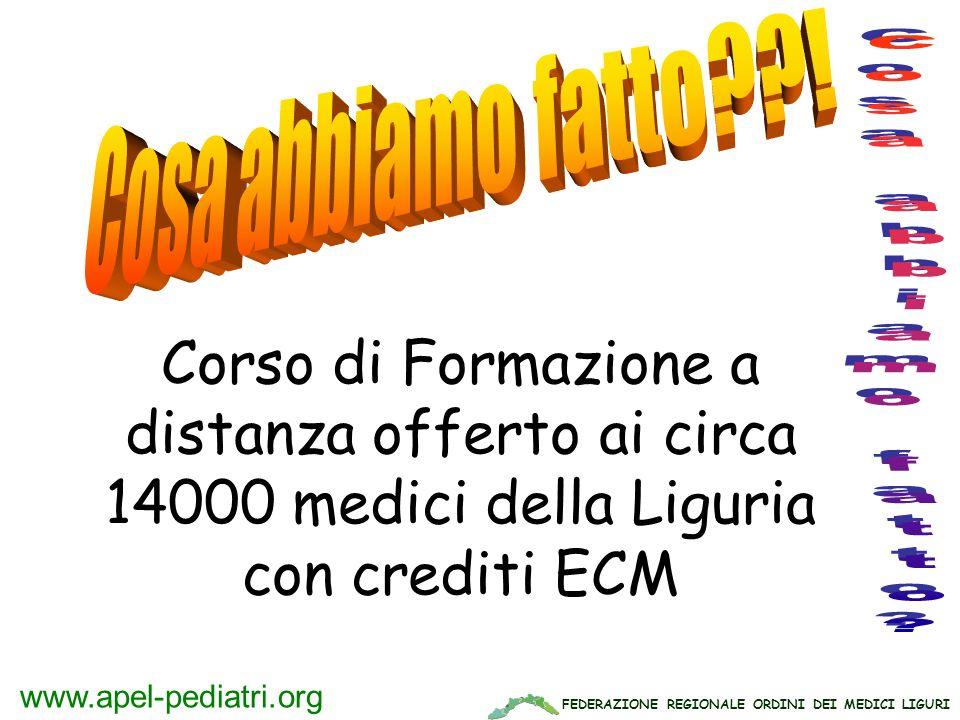 FEDERAZIONE REGIONALE ORDINI DEI MEDICI LIGURI www.apel-pediatri.org Corso di Formazione a distanza offerto ai circa 14000 medici della Liguria con cr