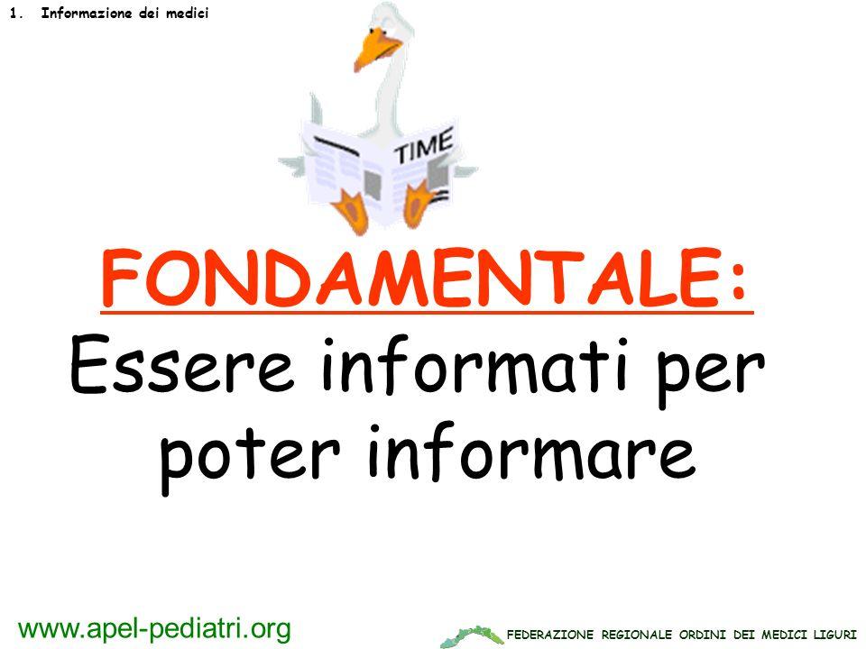 FEDERAZIONE REGIONALE ORDINI DEI MEDICI LIGURI www.apel-pediatri.org FONDAMENTALE: Essere informati per poter informare 1.Informazione dei medici
