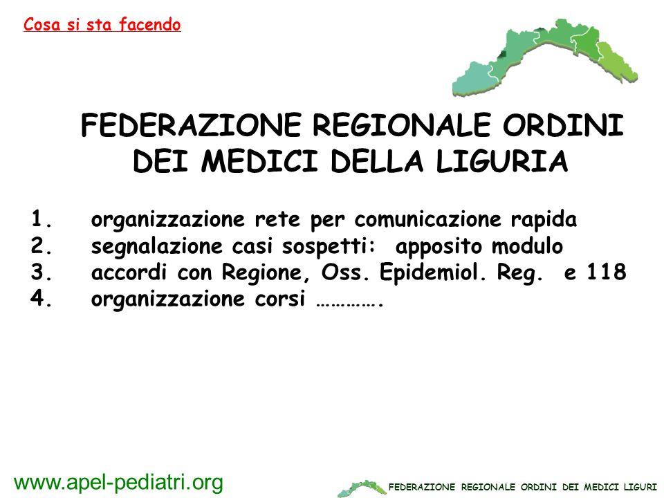 FEDERAZIONE REGIONALE ORDINI DEI MEDICI LIGURI www.apel-pediatri.org FEDERAZIONE REGIONALE ORDINI DEI MEDICI DELLA LIGURIA 1. organizzazione rete per