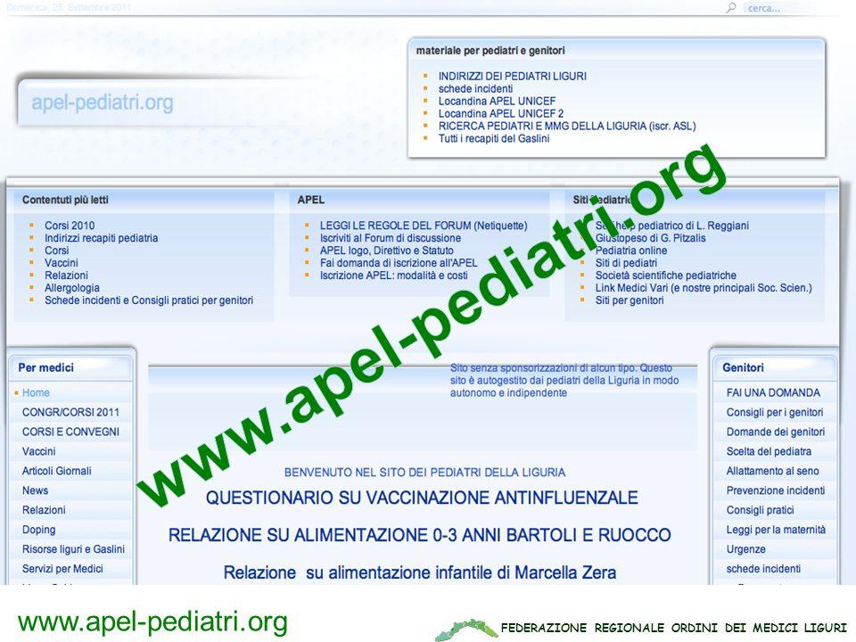 FEDERAZIONE REGIONALE ORDINI DEI MEDICI LIGURI www.apel-pediatri.org www.apel-pediatri.it