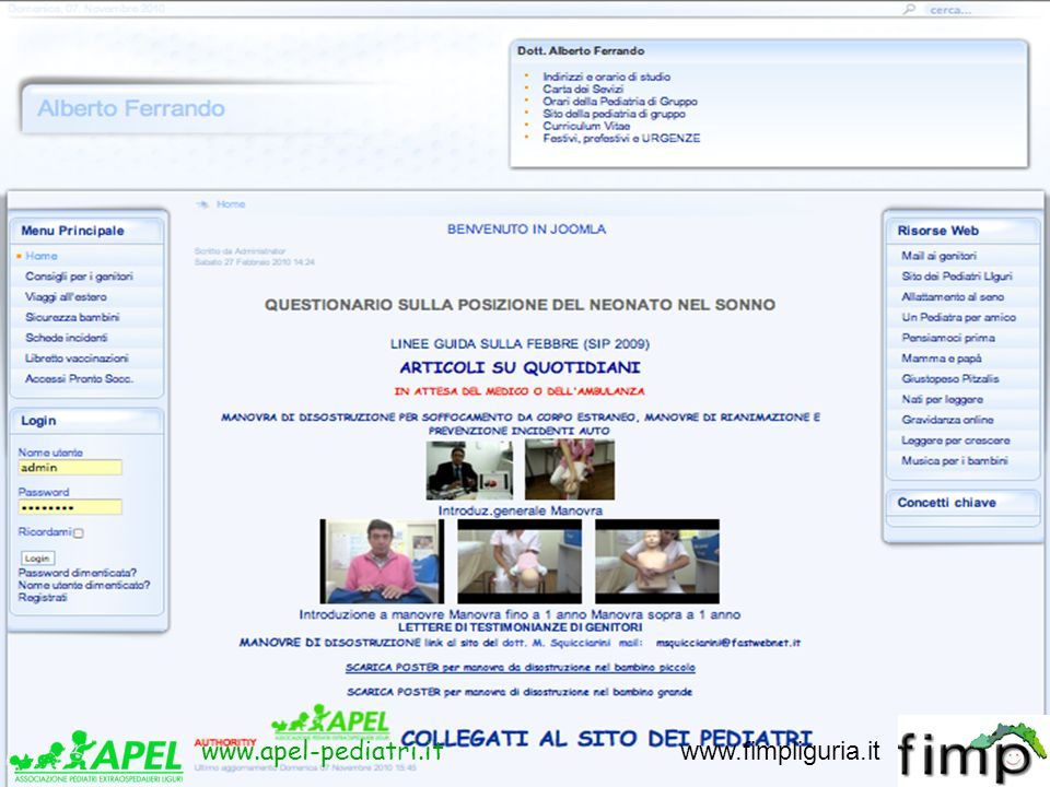 aferrand@fastwebnet.it 3388687583 www.apel-pediatri.it www.fimpliguria.it