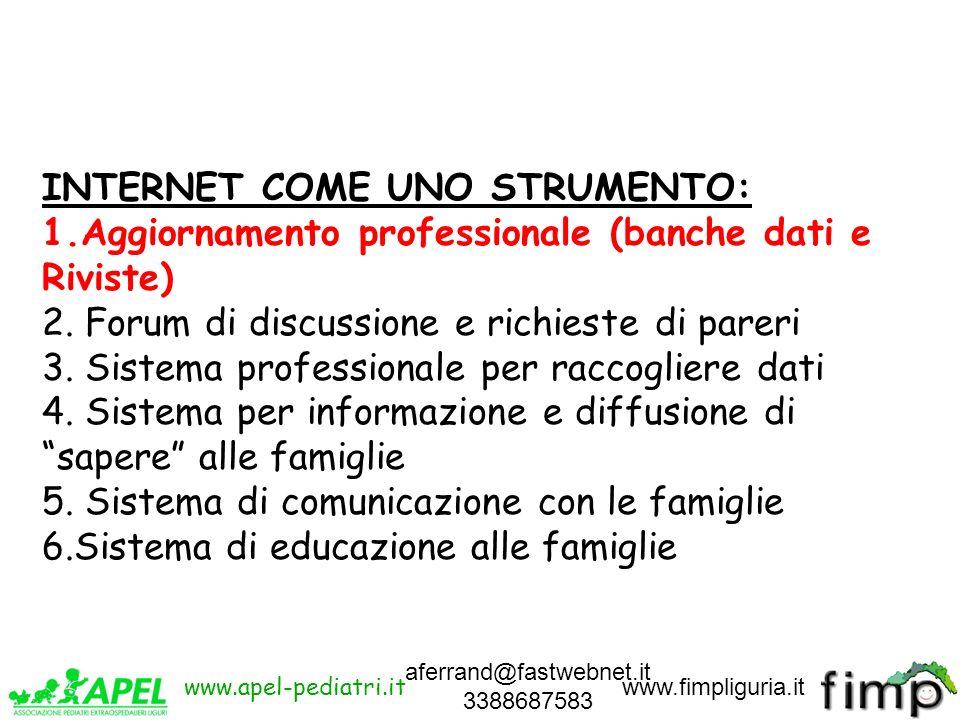 aferrand@fastwebnet.it 3388687583 INTERNET COME UNO STRUMENTO: 1.Aggiornamento professionale (banche dati e Riviste) 2. Forum di discussione e richies