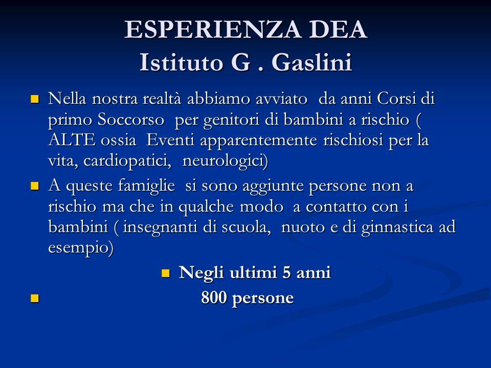 ESPERIENZA DEA Istituto G. Gaslini Nella nostra realtà abbiamo avviato da anni Corsi di primo Soccorso per genitori di bambini a rischio ( ALTE ossia