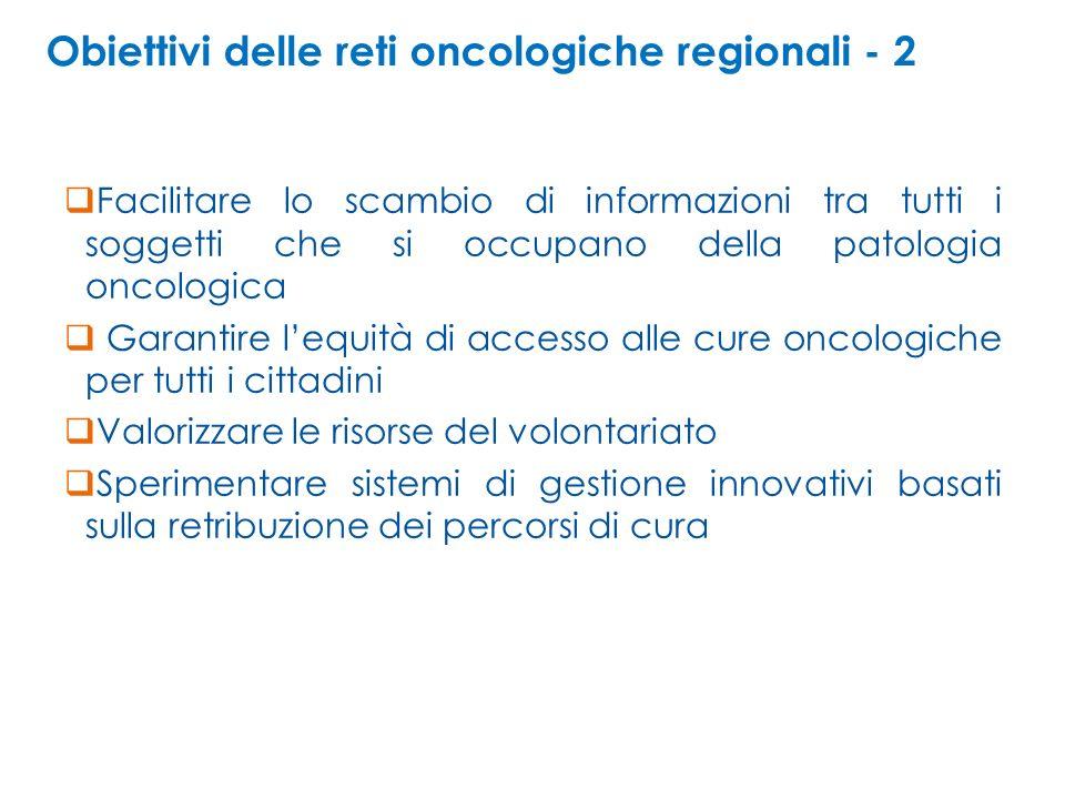 Obiettivi delle reti oncologiche regionali - 2 Facilitare lo scambio di informazioni tra tutti i soggetti che si occupano della patologia oncologica G