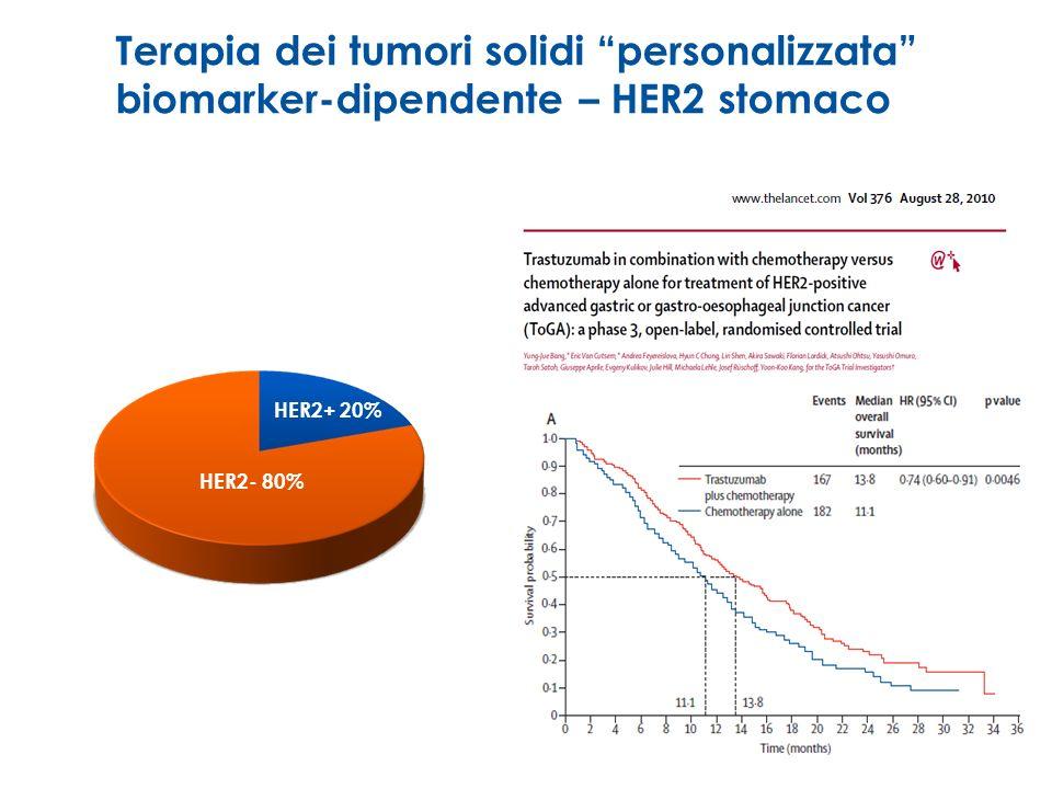 Terapia dei tumori solidi personalizzata biomarker-dipendente – HER2 stomaco HER2+ 20% HER2- 80%