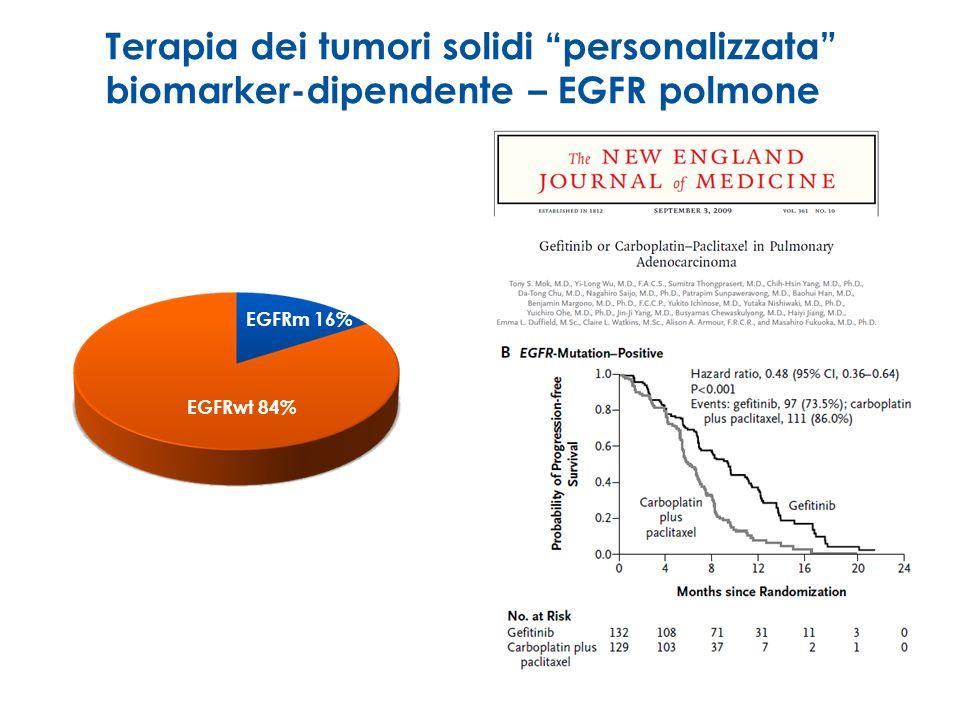 Terapia dei tumori solidi personalizzata biomarker-dipendente – EGFR polmone EGFRm 16% EGFRwt 84%