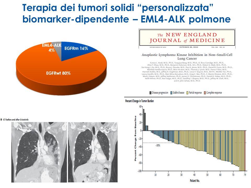 Terapia dei tumori solidi personalizzata biomarker-dipendente – EML4-ALK polmone EGFRm 16% EGFRwt 80% EML4-ALK 4%