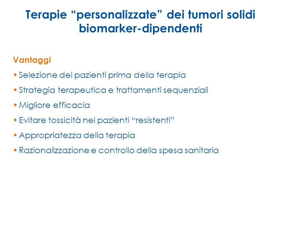 Terapie personalizzate dei tumori solidi biomarker-dipendenti Vantaggi Selezione dei pazienti prima della terapia Strategia terapeutica e trattamenti