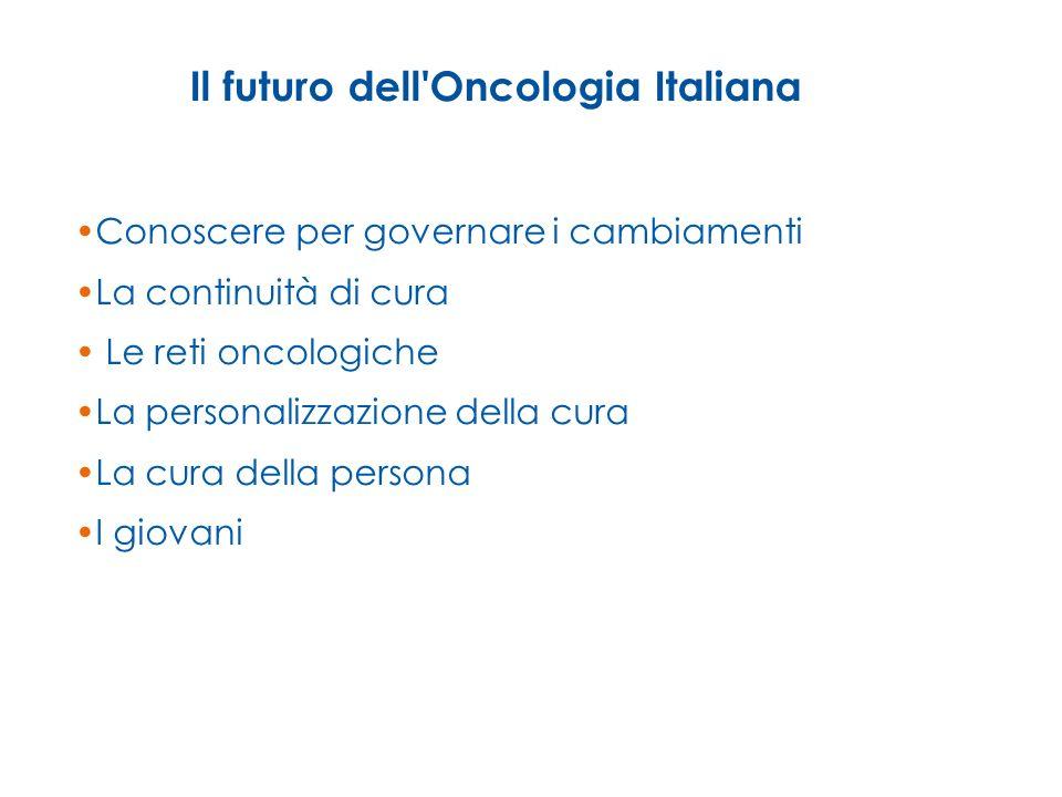Il futuro dell'Oncologia Italiana Conoscere per governare i cambiamenti La continuità di cura Le reti oncologiche La personalizzazione della cura La c