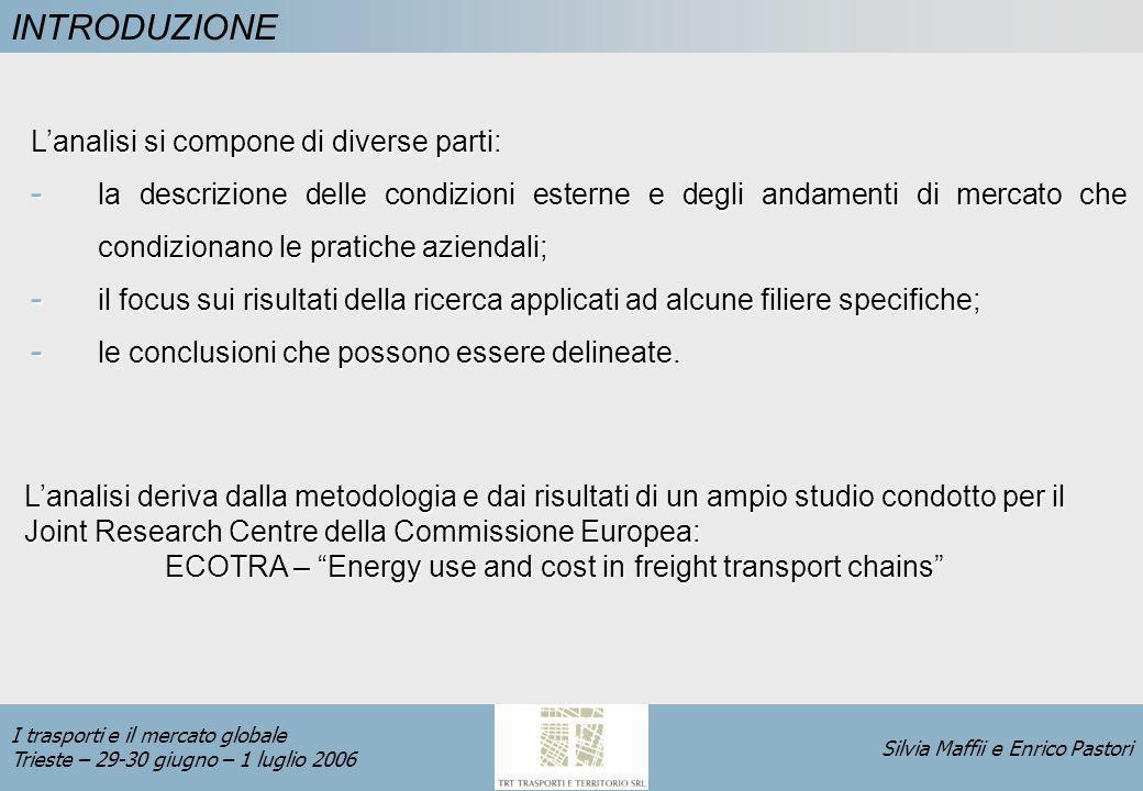 Silvia Maffii e Enrico Pastori I trasporti e il mercato globale Trieste – 29-30 giugno – 1 luglio 2006 DEFINIZIONE INTENSITA DI TRASPORTO L intensità di trasporto merci in uneconomia è definita come misura del volume di traffico (in tonn-km) richiesto per la produzione di unità di prodotto (in termini di PIL).