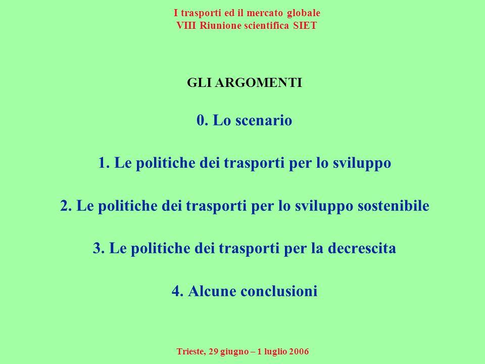 I trasporti ed il mercato globale VIII Riunione scientifica SIET Trieste, 29 giugno – 1 luglio 2006 GLI ARGOMENTI 0.